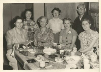 Missionaries: Merrill Brown, Katherine Greenbank, Marg Avison, Laura Derby with Haruko Nakagawa and Mr. and Mrs. Ogasawara