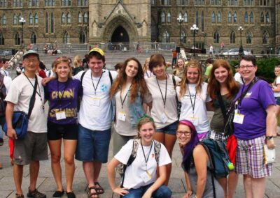 Diaconal Ministers Marly Bown right and David Kai (left) Youth Leaders for General Council Youth Forum 2012. The youth (about 75) were a part of a flashmob on Parliament Hill before Moderator Mardi Tindal addressed the crowd.