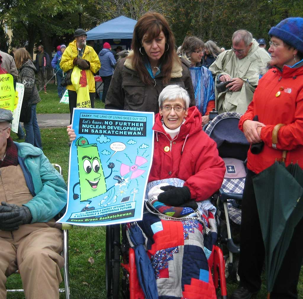 Sylvia-Thompson-at-protest-rally-in-wheelchair