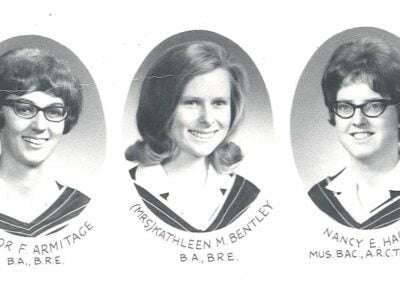 The last three graduates of the joint BRE program with Covenant College, 1968: Elinor (Armitage) Johns, Kay (Bentley) Heuer, Nancy Hardy